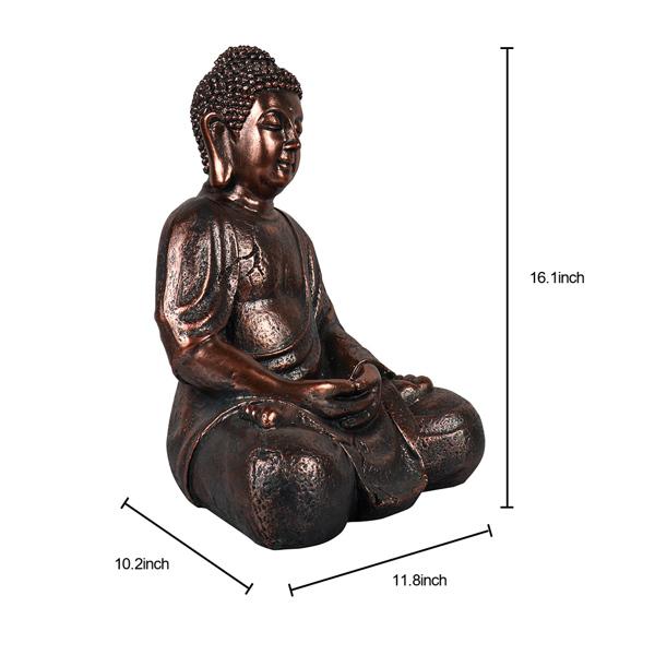 16.1英寸禅佛室内室外庭院花园露台甲板家居装饰雕像