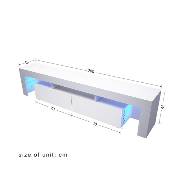 200cm电视柜单色蓝光灯白色