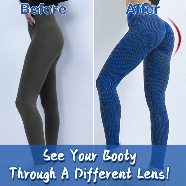 tiktok抖音女士紧身裤提臀高腰瑜伽运动裤蓝色M码