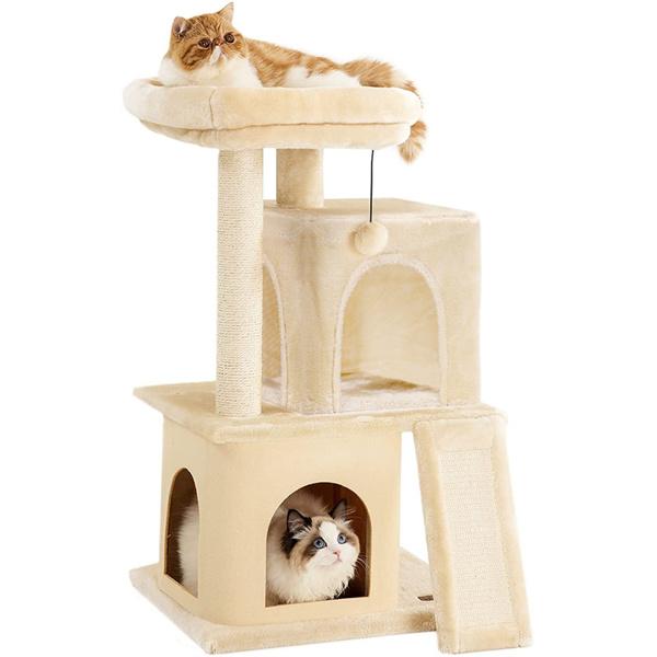 米色小型多层猫台带有2个猫窝,顶部躺窝,剑麻抓柱,坡道和猫互动玩具悬挂毛绒球