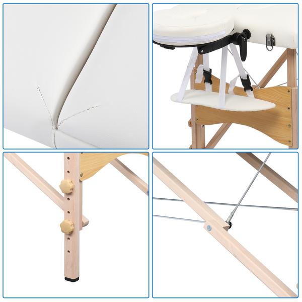 PVC皮木脚 84in 3折高度可调 美容床 白色 60-KH3104