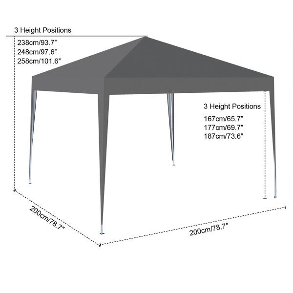 2x2M 弹出式速开凉棚 帐篷 210D 带防水涂层 + 收纳袋 深灰色