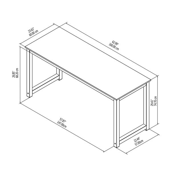 63英寸简约风格电脑桌学习桌,檀香木(亚马逊禁售)