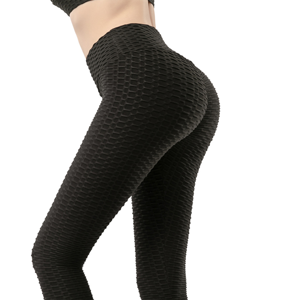 tiktok抖音女士紧身裤泡泡裤提臀运动锻炼高腰瑜伽裤黑色L码