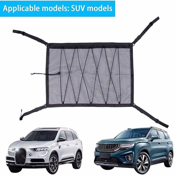 """【沃尔玛禁售】汽车顶棚收纳袋 Car Ceiling Cargo Net Pocket, Double-Layer and Drawstring 31""""x21"""" Adjustable Mesh Long Trip Storage Bag, Tent Putting Quilt Sundries Pouch Car SUV Roof Storage Organizer"""