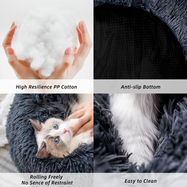 宠物床毛绒甜甜圈圆形柔软温暖猫窝狗窝40cm