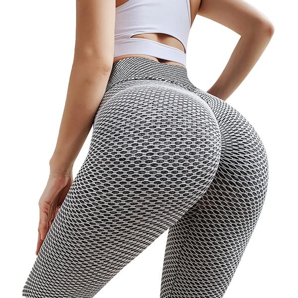 tiktok抖音女士紧身裤提臀运动锻炼高腰瑜伽裤口袋灰M码