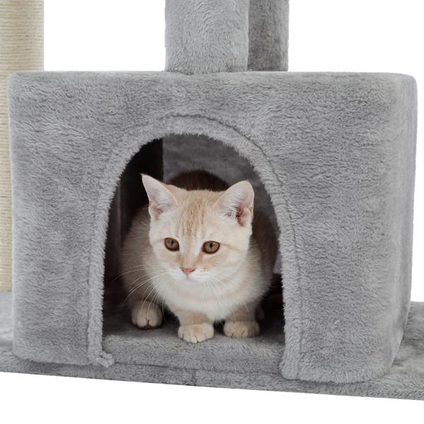 灰色多层复式猫台带有豪华猫窝,毛绒猫床,剑麻猫抓柱,2个高处休息地和吊球