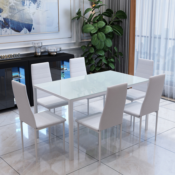 140CM玻璃餐桌+6张餐椅白色