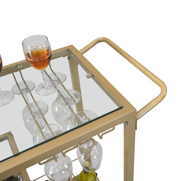 金色玻璃带轮子酒架推车