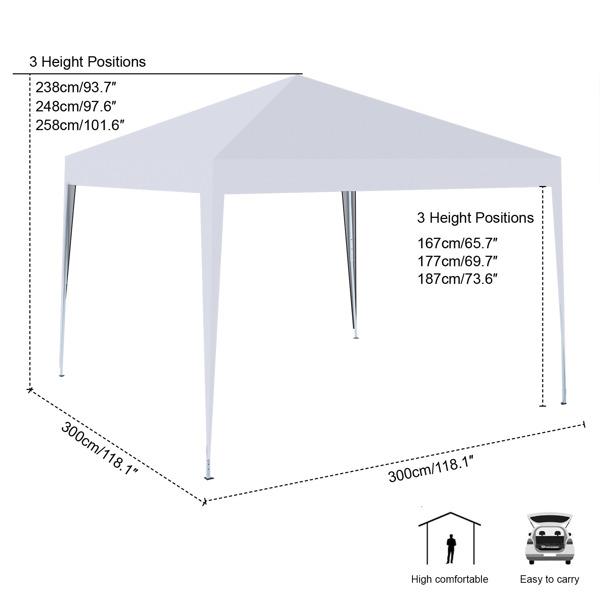 3x3M 弹出式速开凉棚 帐篷 210D 带防水涂层 + 收纳袋 白色