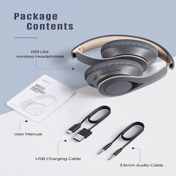【亚马逊禁售】耳罩式无线蓝牙 5.0 耳机,带高保真立体声和内置麦克风,通话清晰,可折叠耳机带柔软记忆泡沫耳罩灰色