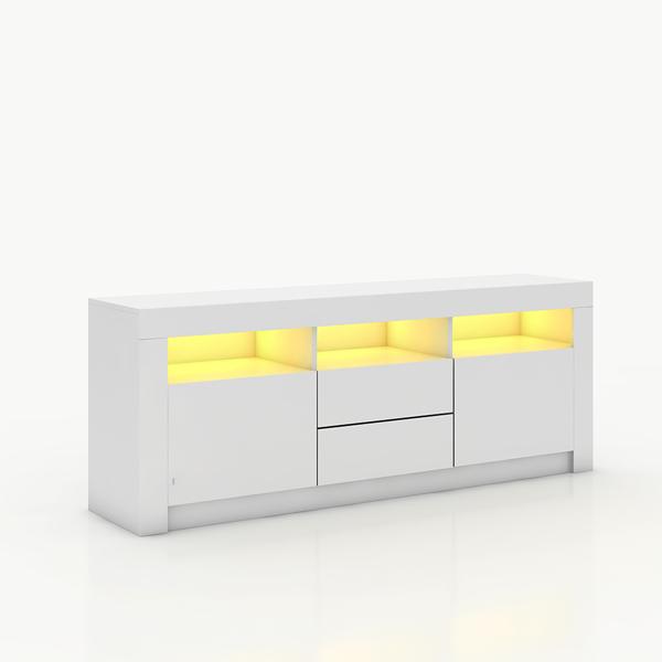 160CM电视柜带LED灯白色