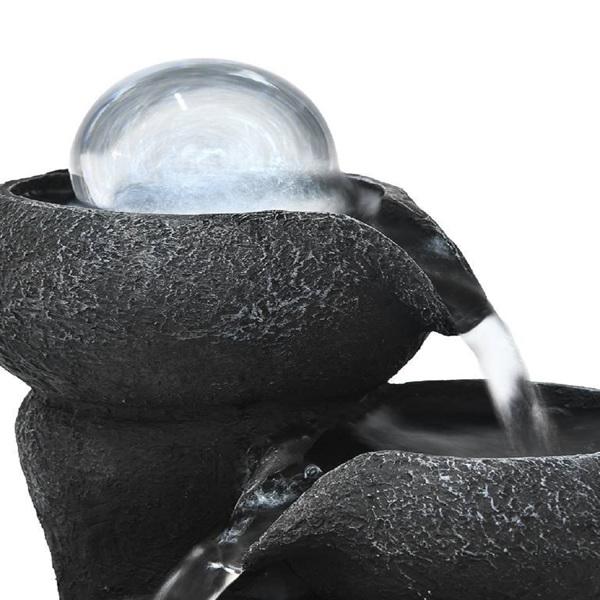 8英寸流水碗台式喷泉带 LED 灯水晶球,适用于办公室和家居装饰(亚马逊禁售)