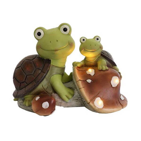 花园雕像可爱的青蛙脸龟小雕像,太阳能树脂动物雕塑,带 3 个用于露台、草坪、花园装饰的 LED 灯