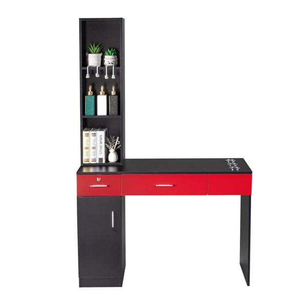 2-2 15厘E0刨花板麻面 1门2抽3层架带腿美发柜带锁 沙龙柜 N001 黑红色