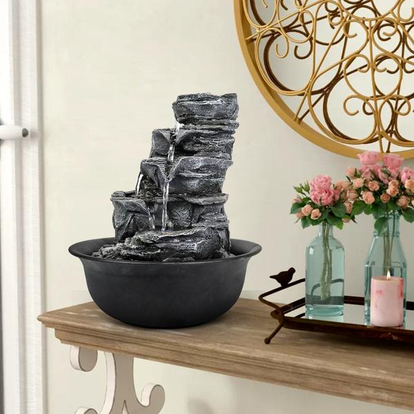 11.8 英寸 5 层树脂工艺堆叠式岩石喷泉带 LED 灯(亚马逊禁售)