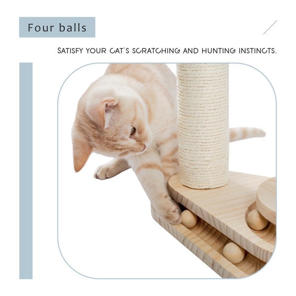 小巧的米色木质猫转盘带有猫抓柱,吊球,猫互动木质小球玩具