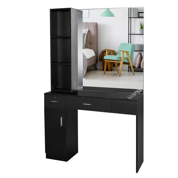 2-1 15厘E0刨花板麻面 1门2抽3层架带腿美发柜带锁带镜子 沙龙柜 N001 黑色