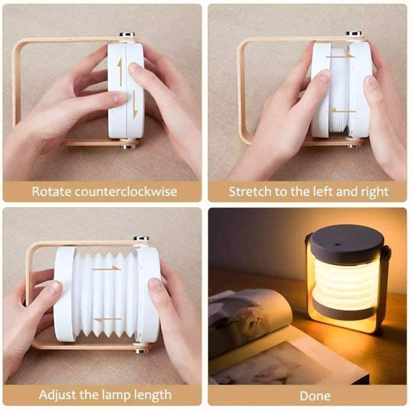 可充电灯笼灯 带木柄触摸控制  可调光 餐厅 可伸缩 便携式 夜灯 室内和室外白色(亚马逊/沃尔玛禁售)