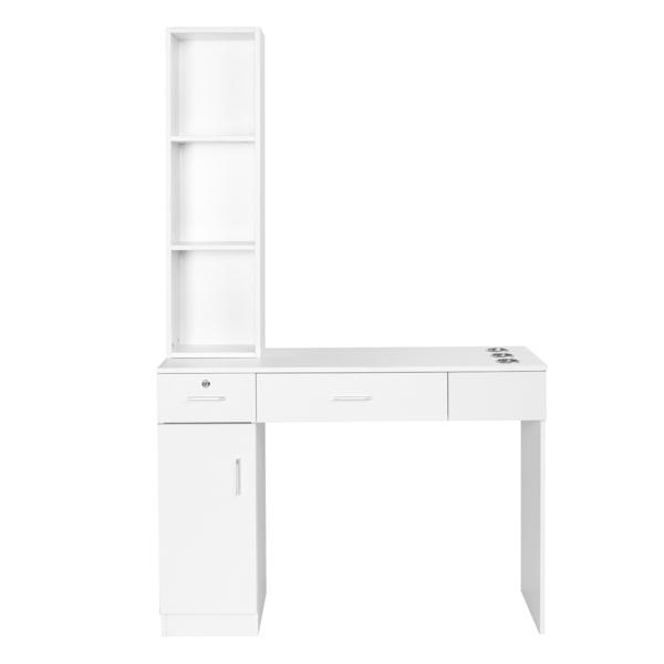 2-2 15厘E0刨花板麻面 1门2抽3层架带腿美发柜带锁 沙龙柜 N001 白色