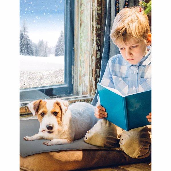 【亚马逊禁售】宠物加热垫、12V 猫狗低压安全加热垫、可调式加热电加热垫、带自动断电恒温器和防咬管的柔软宠物加热床 - 45×45cm