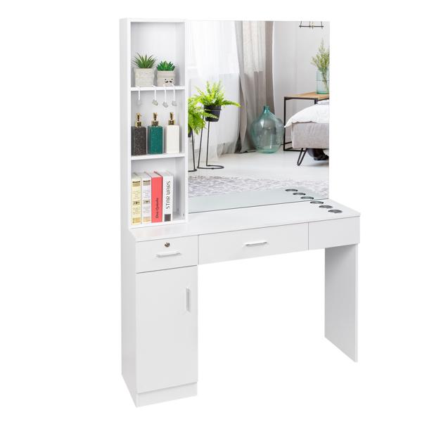 15厘E0刨花板麻面 1门2抽3层架带腿美发柜带锁带镜子 沙龙柜 N001 白色