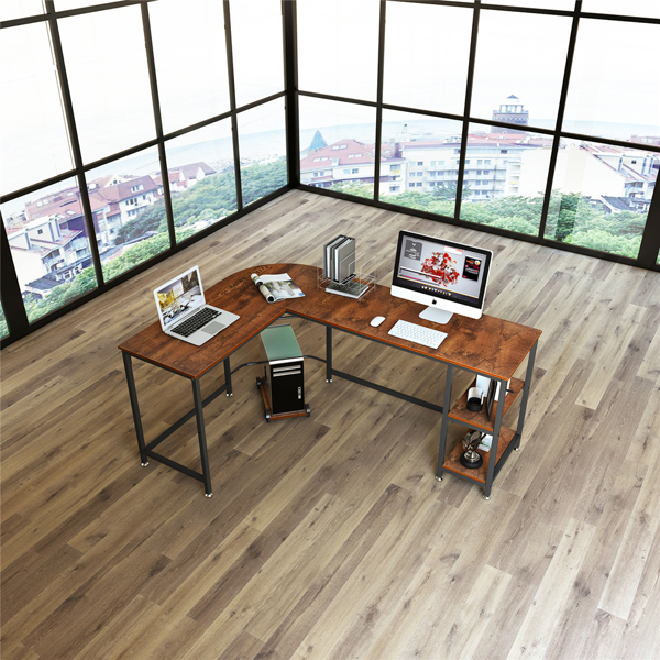 带开放式搁架的现代L形办公桌电脑桌(亚马逊禁售)