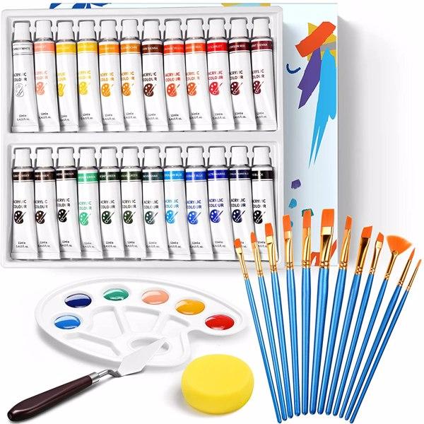 【亚马逊禁售】40PCS颜料套装(24PCS 12ML颜料+12PCS画笔+1PCS颜料盘+1PCS铲刀+1PCS海绵+1PCS画板)