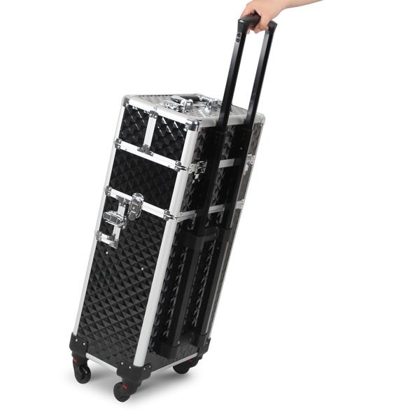 三合一化妆箱 菱形纹 带4个轮子 铝制边框 黑色