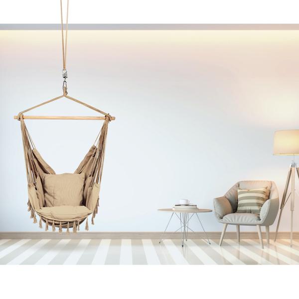 流苏帆布吊椅-咖啡色