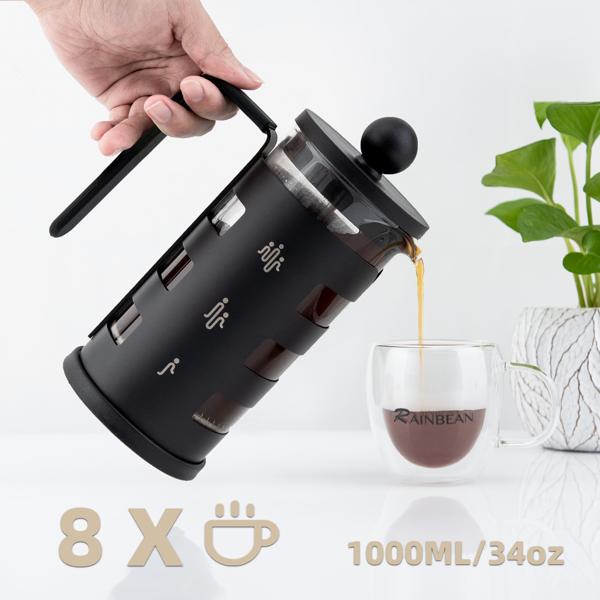 法压壶1000ml/34oz黑色不锈钢咖啡壶意式咖啡 亚马逊禁售