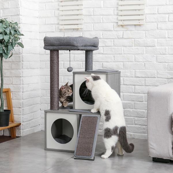 灰色木制多层猫台带有2个豪华猫窝,宽敞的躺窝,剑麻抓柱,坡道,猫互动玩具晃球