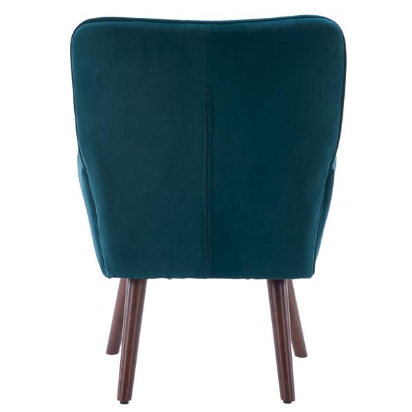 FCH 靠背拉点 绒布 软包 蓝绿色 室内休闲椅 简约北欧风格 S101