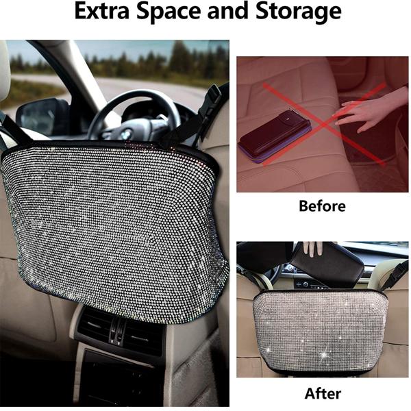 【沃尔玛禁售】汽车钻石收纳袋 Bling Handbag Holder for Car, Large Capacity Car Seat Organizer, Purse Bling Organizer White Diamond