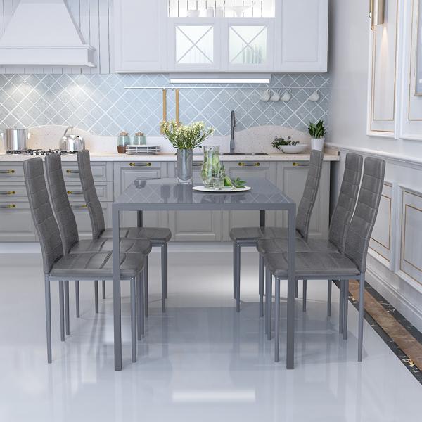 140CM玻璃餐桌+6张餐椅灰色