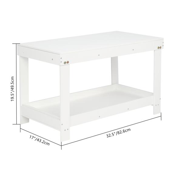 FCH 密度板 白色 带绿色积木板 儿童桌椅 82.6*43.2*49.5cm 两用 N101