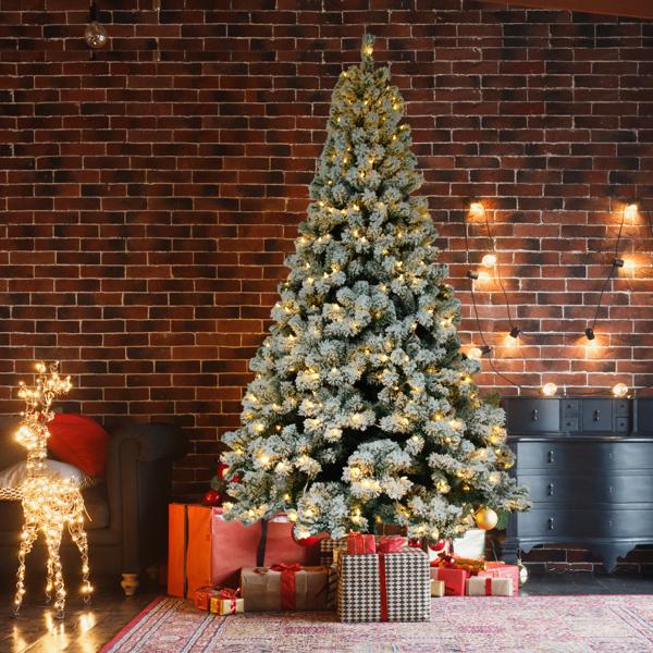 FCH 6ft 928枝头 带光纤 不带松果 喷白 圣诞树 美规 PVC植绒树 N101 美国