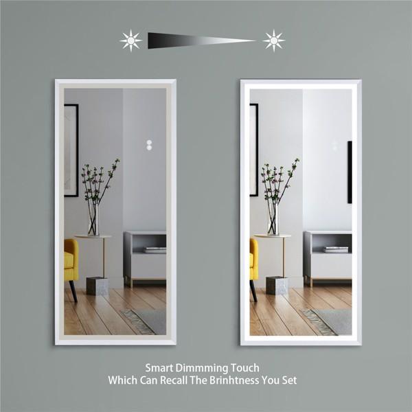 (亚马逊禁售)22英寸x48英寸Led发光全身镜,带拉丝银框的身体后视镜,触摸开关和无级调光