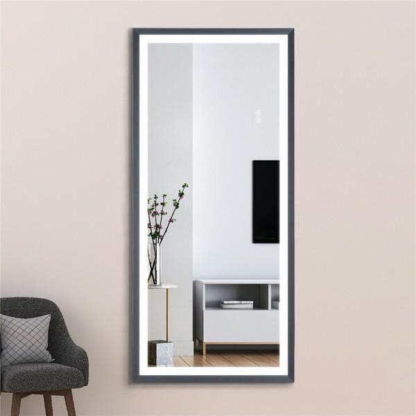 (亚马逊禁售)22英寸x48英寸LED发光全身镜、带沙黑色框架的身体后视镜、触摸开关和无级调光
