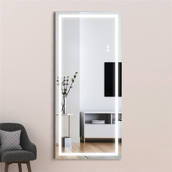 (亚马逊禁售)22英寸x48英寸Led发光全身镜,带银色的身体后视镜(无框),触摸开关和无级可调光