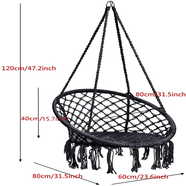 圆形网状流苏吊椅-黑色