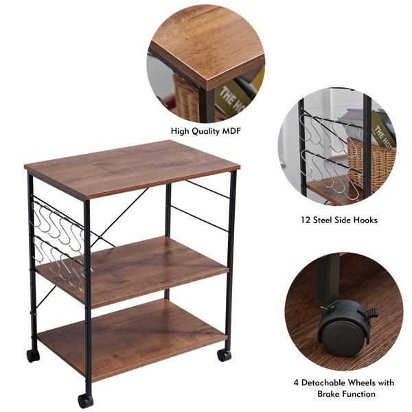三层木质厨房推车