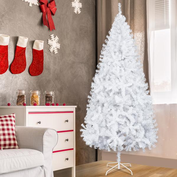 FCH 8ft 1138枝头 不带光纤 不带松果 平头 白色 圣诞树 美规 pvc N101 美国