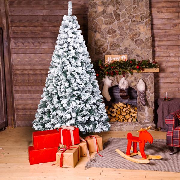 FCH 7ft 植绒 1300枝头 喷白 圣诞树 自动树结构 PVC树枝铁支架 N101 英国