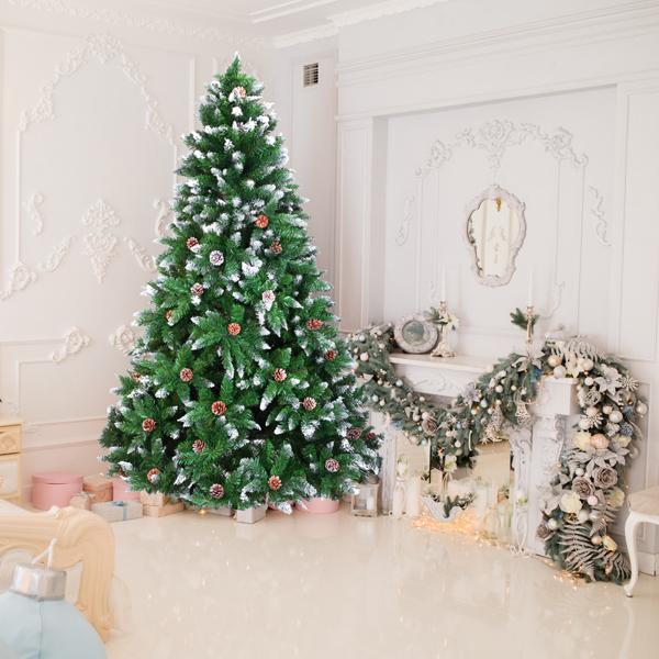 FCH 7ft 植绒带松果 1350枝头 喷白 圣诞树 PVC树枝铁支架 N101 英国 法国 德国