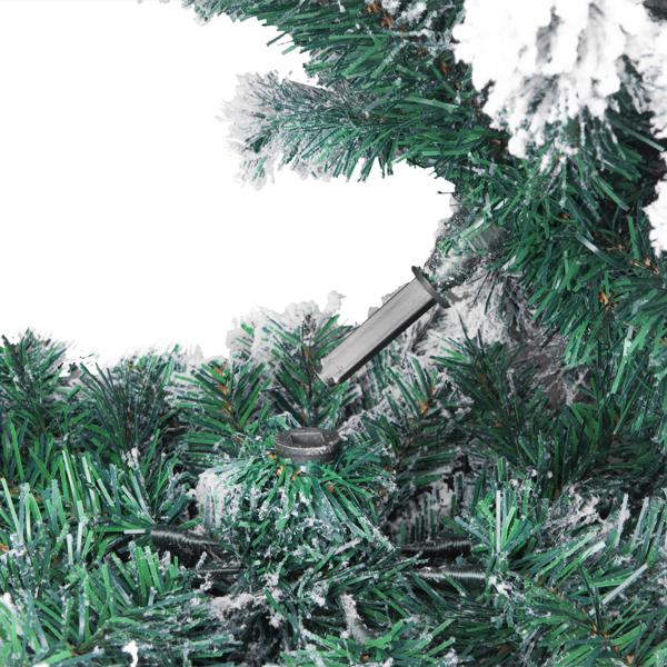 FCH 6ft 植绒 750枝头 喷白 圣诞树 自动树结构 PVC树枝铁支架 N101 法国