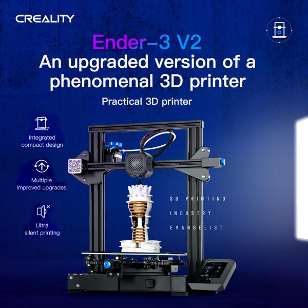 创想三维 Ender-3 V2 3D打印机 一体式机身结构 多重优化设计/静音打印/断电续打 220*220*250mm 欧规110/240V