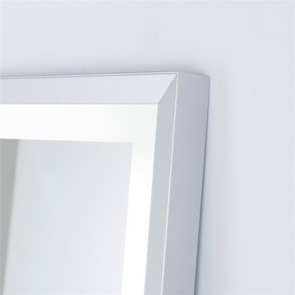 (亚马逊禁售)22英寸x65英寸Led发光全身镜,带拉丝银框的身体后视镜,触摸开关和无级调光