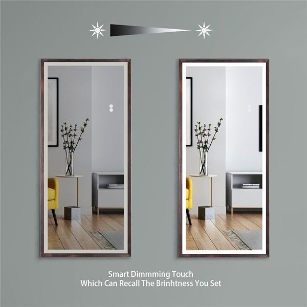 (亚马逊禁售)22英寸x48英寸Led发光全身镜,带油黄铜框架的身体后视镜,触摸开关和无级调光